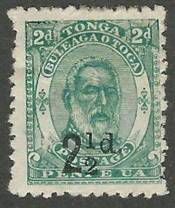 Tonga, 1893, Scott #18 mint, hinged, fine, 2 1/2p on 2p blue green