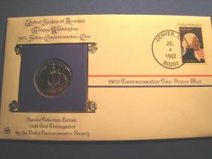 1982 PCS - 24k GOLD PLATED, 90% SILVER WASHINGTON COIN AND COVER  (gg)