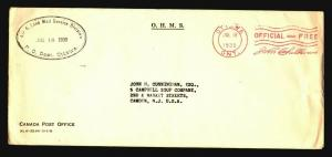 Canada 1939 OHMS Cover / Machine Signature Cancel / Light Creasing - Z15782