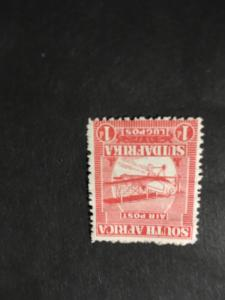 South Africa #C1 Mint Sc. 2015 Cat. $4.50 Creased O/W F-H 1925 1P Red Mail Plane