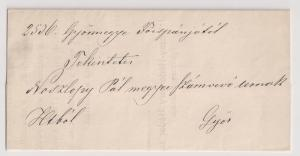 Hungary: STAMPLESS from Gyor 1869 no cancel but PRINTED DECLARATION within VF!