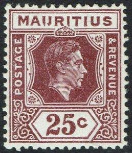MAURITIUS 1938 KGVI 25C  I J FLAW