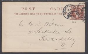 Great Britain H&G 5a used 1885 ½p red QV Postal Card F-VF