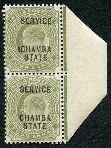 Chamba SG28 KEVII 4a Pair inc ICHAMBA VARIETY U/M Stated from the 1908 Printing
