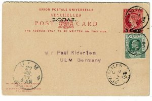 Seychelles 1904 cancel on local postal reply card to Germany