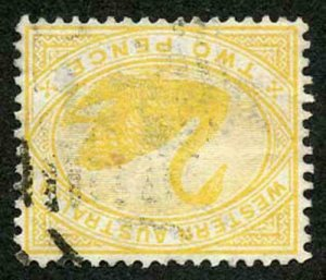 Western Australia SG113a 1898 2d Bright Yellow Wmk W Crown INVERTED