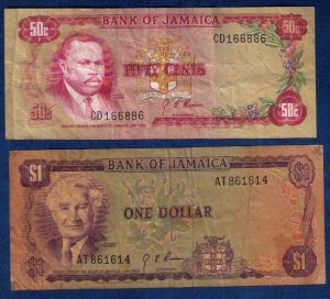 1960 JAMAICA (2 EA) Bank of Jamaica 50c and 1 Dollar Notes (1960) Good To Fine