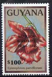 Guyana 1990 (?) Napoleon Bonaparte opt on $100.00 orchid ...