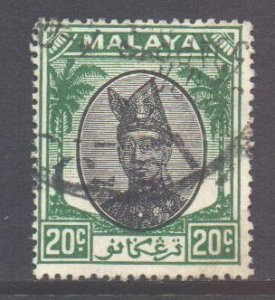 Malaya Trengganu Scott 61 - SG78, 1949 Sultan 20c Green used