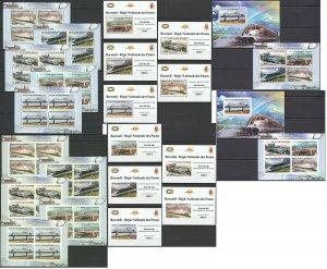 BU121 PERF,IMPERF 2012 BURUNDI TRANSPORT AEROTRAINS 12KB+2BL+10 LUX BL MNH