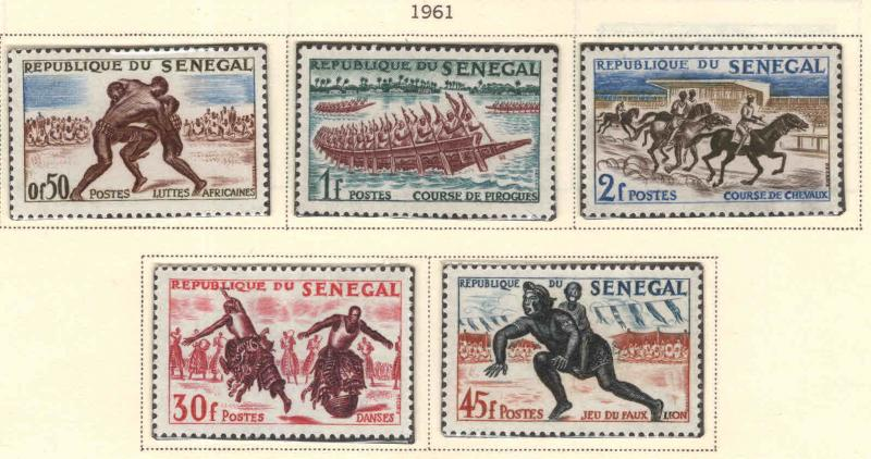 Senegal Scott 202-206 MNH** stamp 1961