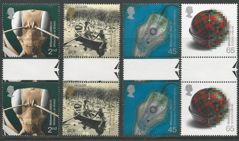 Great Britain # 1922-25 Millennium Series - Mind/Matter GUTTER PR (4) Mint NH