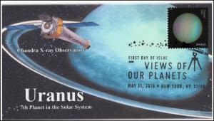 2016, Views of our Planets, Uranus, B/W Postmark, Chandra X-Ray, FDC, 16-235