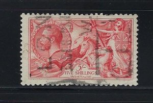 GREAT BRITAIN SCOTT #180-  5 SHILLING- 1919 RETOUCHED SEAHORSES- USED
