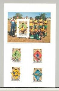 Virgin Islands #651-655 World Cup Soccer 4v & 1v S/S Imperf Proofs on Card