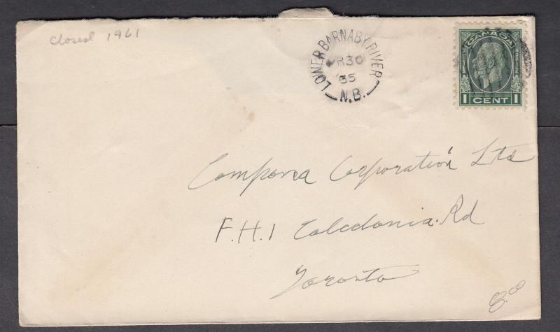 NEW BRUNSWICK SPLIT RING TOWN CANCEL COVER LOWER BARNABY RIVER