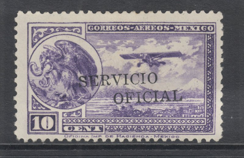 Mexico Sc CO30 MLH. 1934 10c Air Mail, counterfeit Official overprint