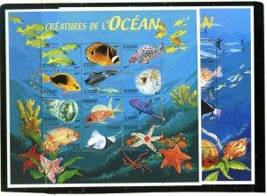 DJIBOUTI 2000 FISH & MARINE LIFE 2 SHEETS OF 12 STAMPS MNH