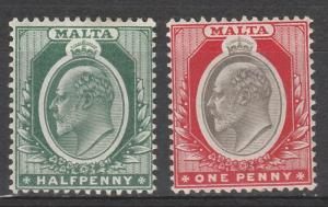 MALTA 1903 KEVII 1/2D AND 1D WMK CROWN CA