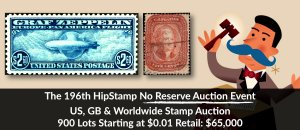 The 196th HipStamp No Reserve Auction Event