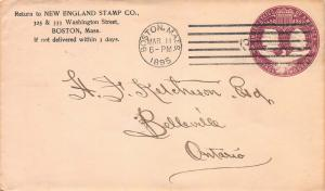 U.S., Scott #U349 Entire Used, New England Stamp Co. Corner Card, Sent to Canada