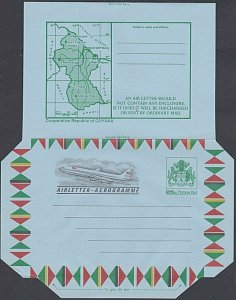 GUYANA 25c Arms Map Plane aerogramme unused.................................J969