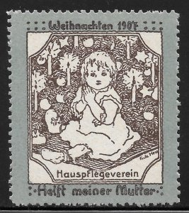 1907 German Home Care Association Christmas Label Help My Mother MNH