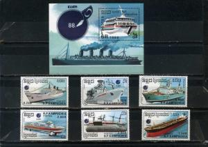 CAMBODIA 1988 Sc#860-867 SHIPS SET OF 6 STAMPS & S/S MNH
