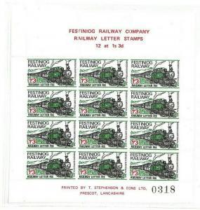 GB WALES Railway Stamps Block of 12 Festiniog Railway{samwells} GG251