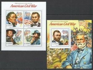 ST518 2015 SIERRA LEONE HISTORY AMERICAN CIVIL WAR LINCOLN KB+BL MNH