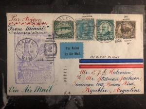 1929 Miami USA First Flight cover FFC To Bueno Aires Argentina