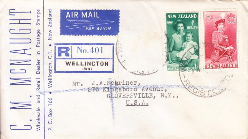 New Zealand 1958 Registered Cover to N.Y. Stamp Dealers Mail