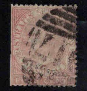 Straits Settlements Scott 11 Used  1867 Queen Victoria CC wmk Faulty Filler