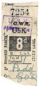 (I.B) Great Western Railway : Prepaid Parcel 8d (Usk)