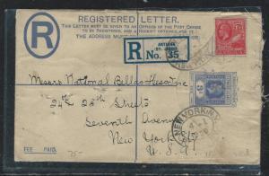 LEEWARD ISLANDS (P2712B) 1929 KGV 3D RLE UPRATED ANTIGUA 1 1/2D TO USA