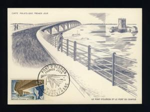 FRANCE - 1966 - Yv.1489 PONT D'OLÉRON (BOURCEFRANC) CARTE MAXIMUM 1er JOUR FDC