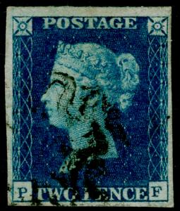 SG5, 2d blue PLATE 2, FINE USED. Cat £1100. BLACK MX. 4 MARGINS. PF