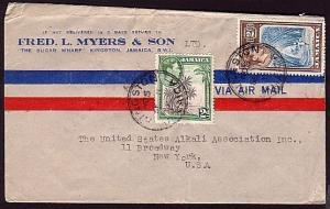 JAMAICA 1942 airmail mail cover to USA ................................34041