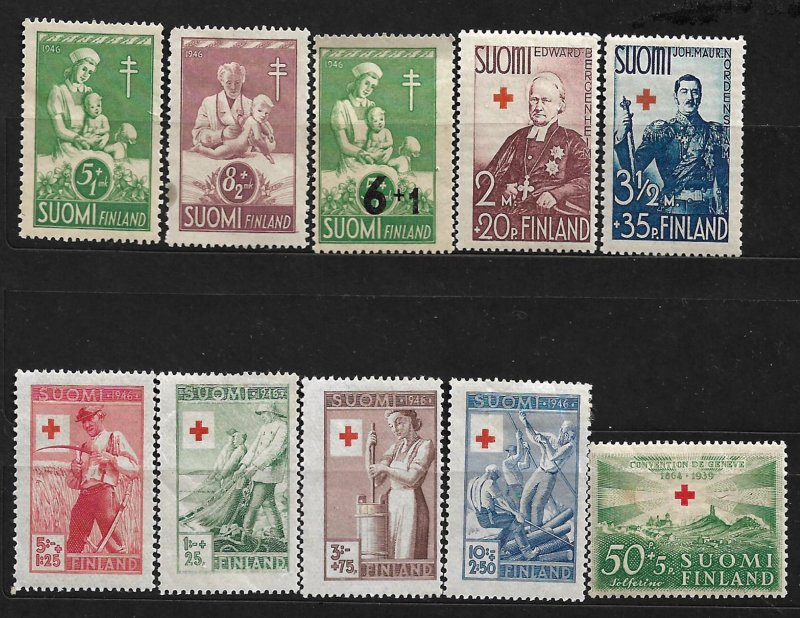 COLLECTION LOT #434 FINLAND 10 SEMI POSTAL MH STAMPS 1938+