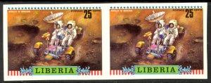 LIBERIA 1972 25c APOLLO 16 Lunar Rover IMPERF PAIR Sc 604var MNH
