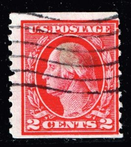 US STAMP #444 – 1914 2c Washington, carmine USED STAMP STAIN SPOT