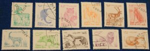 Afghanistan complete cancelled set of 10 stamps mammals