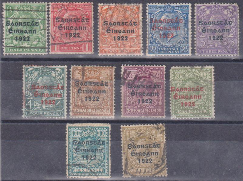 Ireland - Scott #44, 46-55 Used 1922-1923 Three Line Overprints