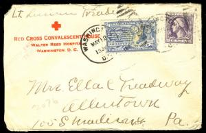 MALACK 529, E11 Red Cross cover, back stamped, nice markings w9257