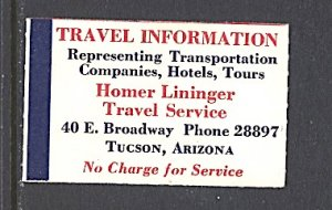 USA Cinderella Homer Lininger Travel Service Tucson Arizona c.1940