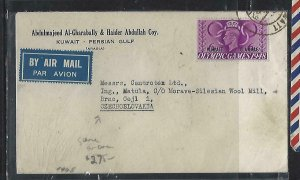 KUWAIT  (P2608B) 1952  KGVI GB 6A/6D OLYMPIC GAMES A/M COVER TO CZECHOSLOVAKIA