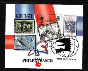 Kiribati-Sc#526-Unused NH sheet-PhilexFrance-Stamp on Stamp-1989-