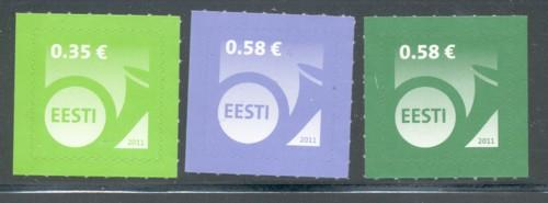 Estonia Sc 675-7 2011 posthorn stamp set in Euros mint NH