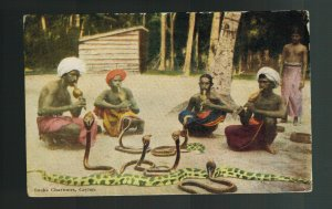 1932 Ceylon Picture postcard Cover to England Snake Charmers Cobras