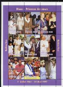 Burkina Faso 1997 Princess Diana #3 perf sheetlet contain...